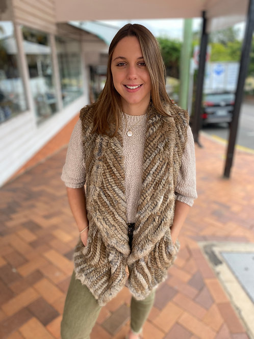 Rabbit Fur Vest Brown