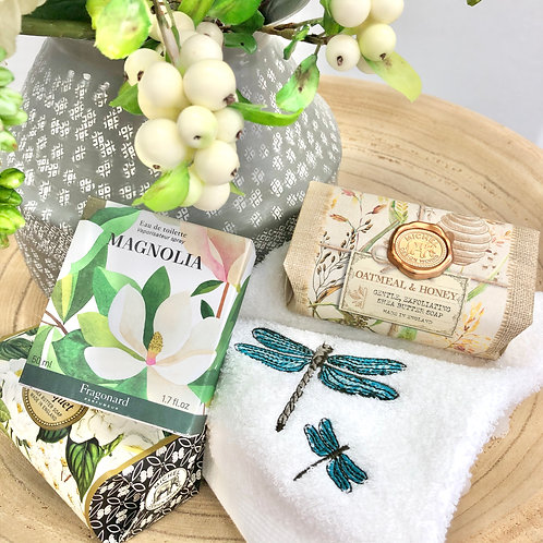 'Dragonfly' Embroidered Cotton Hand Towels