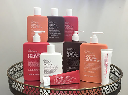 Feel Good Inc. Assorted Sunscreens, Moisturisers, & Zinc.