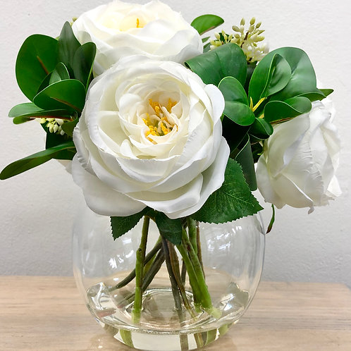 6 Flower/12 Stem Artificial White Colombian Roses