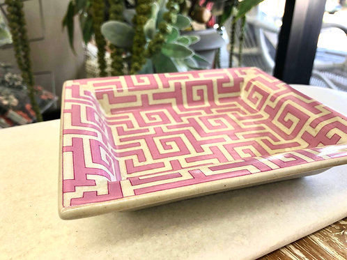 Pink Rectangular Geometric Dish