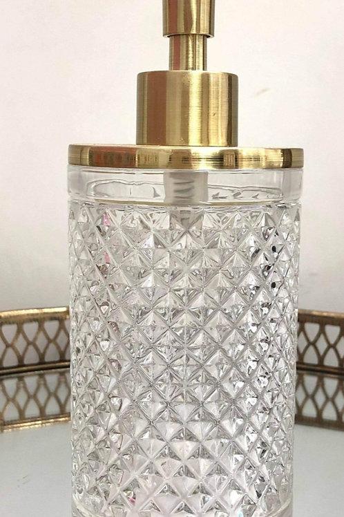 Cut Glass & Gold Soap Dispenser