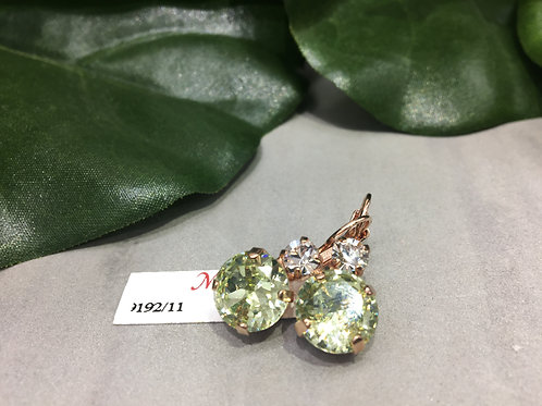 Pale Green & Clear Crystal Rose Gold Earrings - Mariana