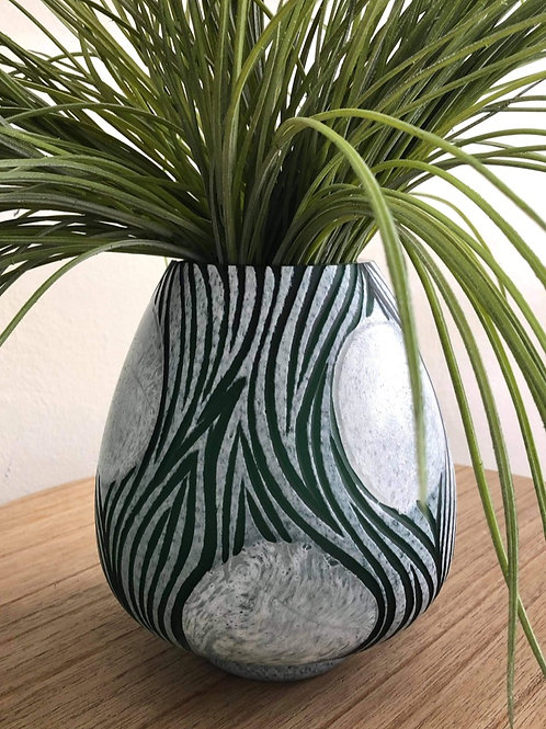 Green & White Engraved Vase