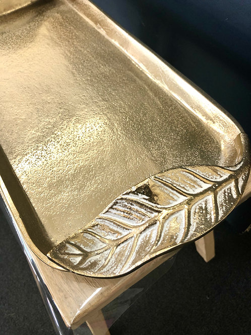 Gold Tray with Leaf Handles