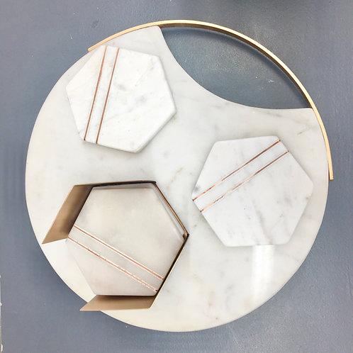 Set of 4 Hexagonal Coasters - Copper & Marble