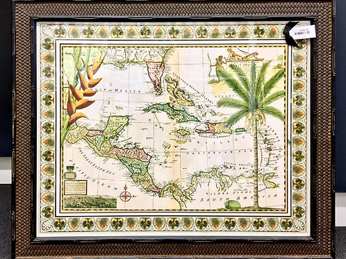 'West Indies Map' Framed Print