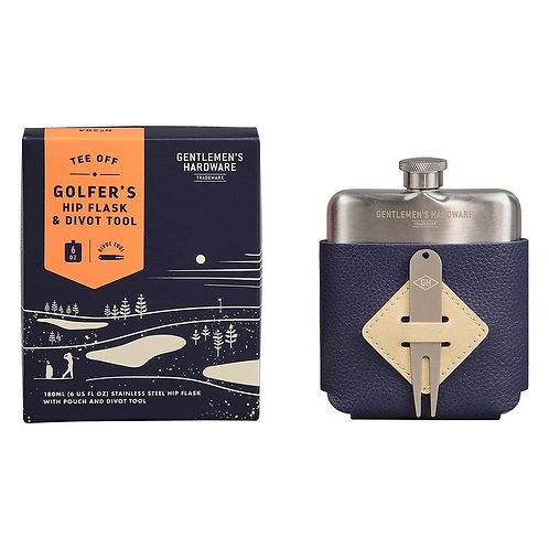 Golfer's Hip Flask & Divot Tool Set - Gentlemen's Hardware