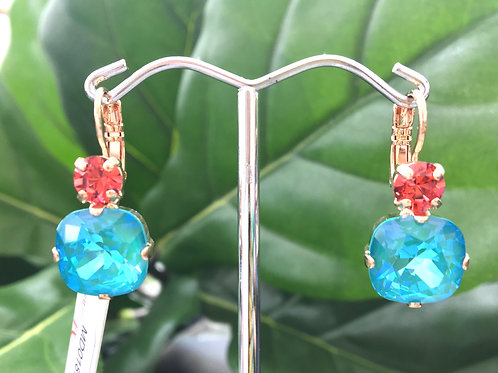 Watermelon Pink & Bright Turquoise Crystal Rose Gold Earrings - Mariana