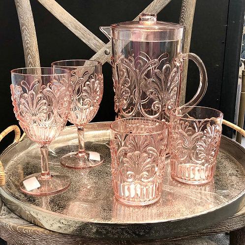 Rose Pink Acrylic Glasses and Jug Set