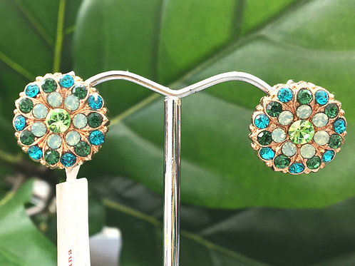 Mixed Green Crystal Rose Gold Clip-on Stud Earrings - Mariana