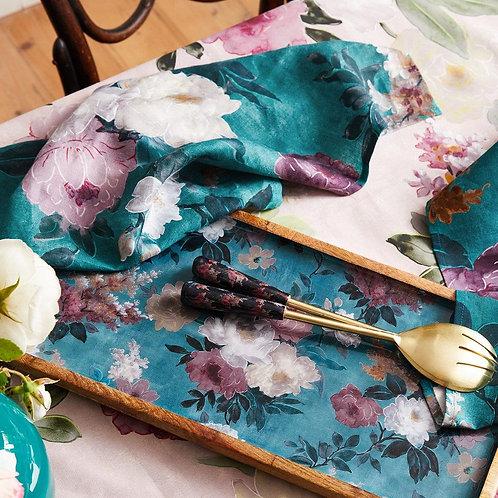 'Green Floral' Mangowood Large Platter