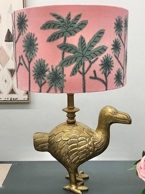 'Pink & Grey Emu' Embroidered Lamp Shade