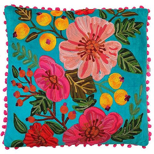 'Hibiscus' Velvet Turquoise Cushion