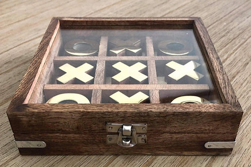 Wooden & Gold Boxed Naughts & Crosses Set