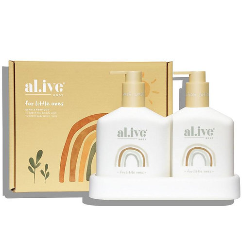 Gentle Pear for Little Ones - Al.ive Baby Hair/Body Wash & Lotion Duo + Tray