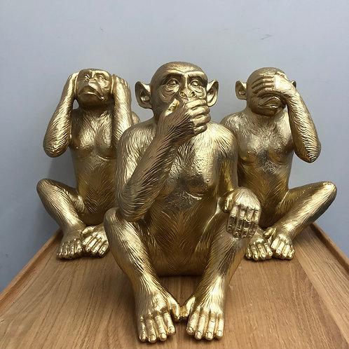 'Hear/See/Speak No Evil' Gold Resin Monkeys Set of 3