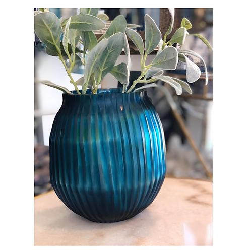 Vase Cut Glass Blue Tint Sml