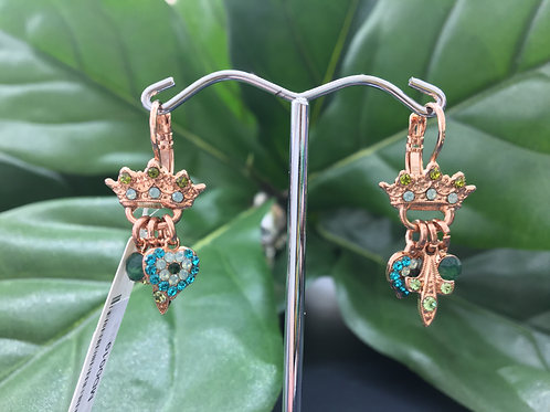 Mixed Green Crystal Rose Gold Crown Charm Earrings - Mariana
