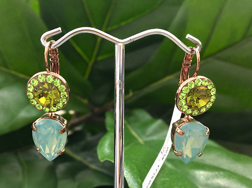 Green & Aqua Crystal Rose Gold Raindrop Earrings - Mariana