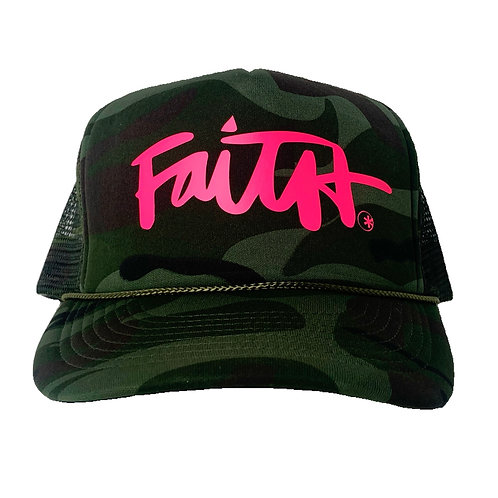 Faith*  Camo    Electric Pink Trucker