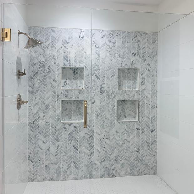 Glass Encased Tile Shower