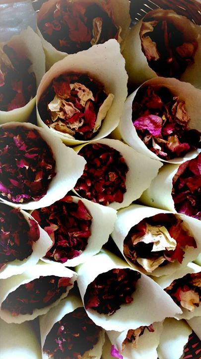 Dried Rose Petal Confetti Cones