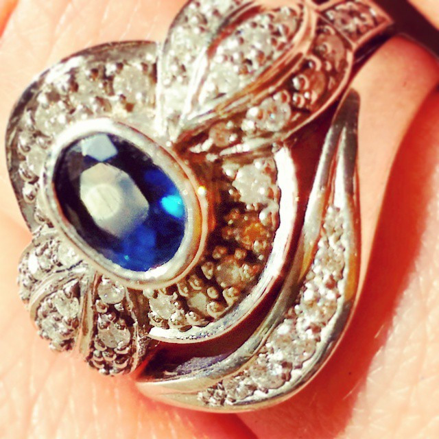 Vintage Diamond and Sapphire Engagement Ring with a handmade design by Nerys Davis in Wells as my wedding ring
