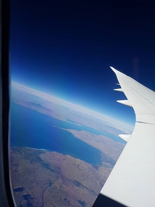 Lovely pic from the plane showing the curvature of the earth!