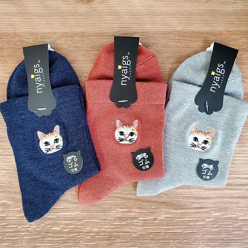 毛並みまで感じるリアル猫さん刺繍の靴下 ✩.*˚ カンロKANRO  ✩.*˚