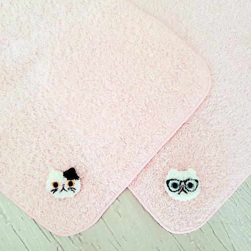 猫さん刺繍の桜ピンクの泉州ミニタオル