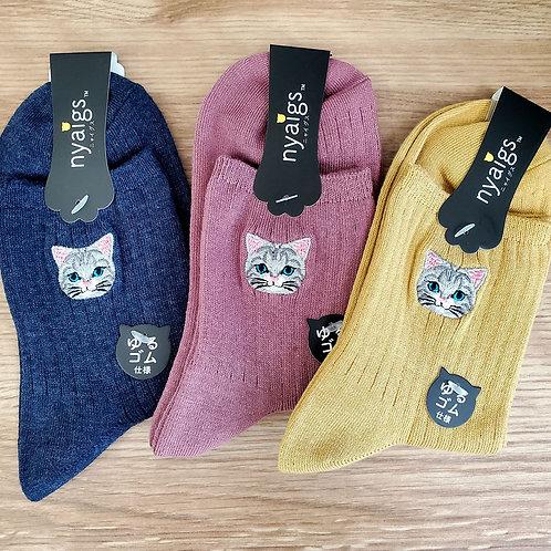 予約受付中☆毛並みまで感じるリアル猫さん刺繍の靴下 ✩.*˚ ヒメ HIME  ✩.*˚