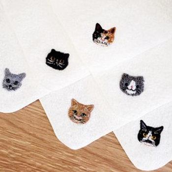 泉州タオルを使用した猫刺繍の優しいハンカチ