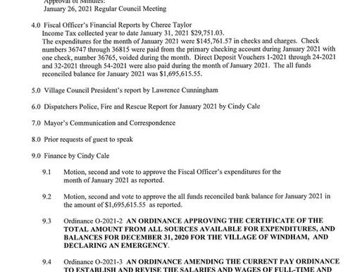 Council Meeting Agenda Feb. 23, 2021