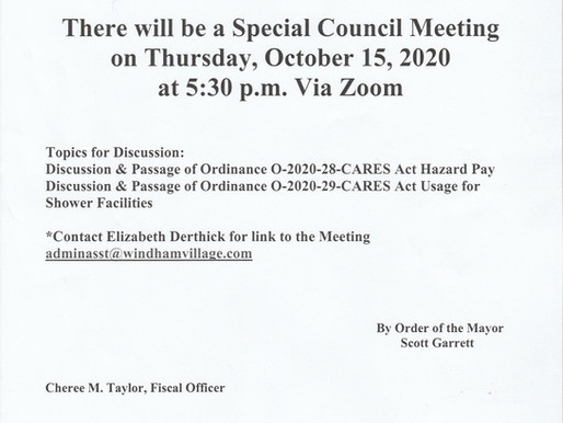 Special Council Meeting Oct. 15, 2020