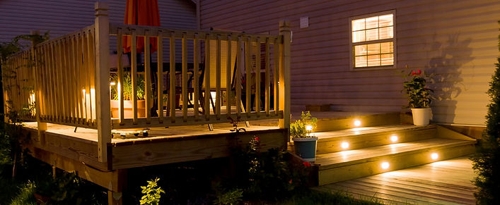 Wooden deck and patio of family home at