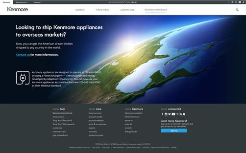 Kenmore Brand International Landing Page