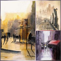 Aquarelles paysages urbains de l'artiste peintre Michèle Pincemin