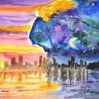 Aquarelle surréaliste par l'artiste peintre Michele Pincemin