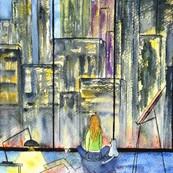 Aquarelle de l'artiste peintre Michèle Pincemin