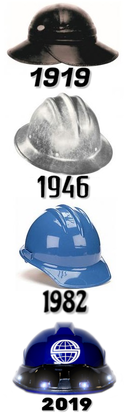 the changes of the hard hat over the past 100 years.