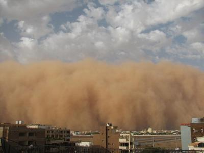 Sand storm in Khartoum, Sudan