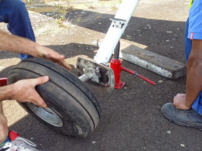 How to pop an airplane's tire.