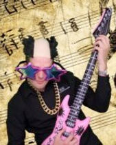 Wedding Photographer enjoying the photo booth with guitar, wigs and comical glasses