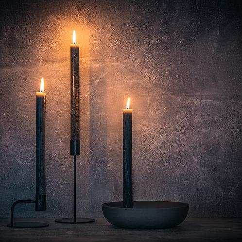 Foot Long Black Pillar Sandalwood Candle - Set of 3