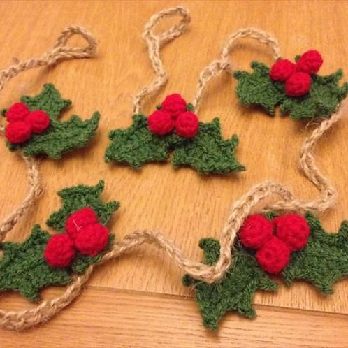 Crochet Holly Berries on a string