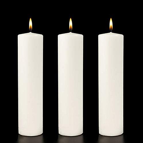 Foot Long White Vanilla  Pillar Candle - set of 3