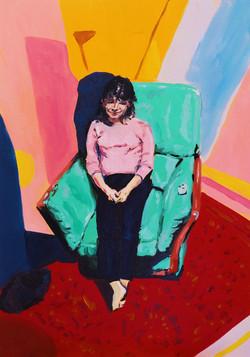 Etude Portrait de Mathilde enceinte etude huile sur toile 38 x 55 cm 2020