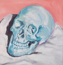 vanité bleu et rose huile sur toile 20 x 20 cm 2021