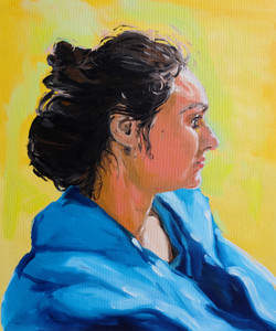 Etude portrait de Lisa. huile du panneau toilé 46 x 55 cm 2020